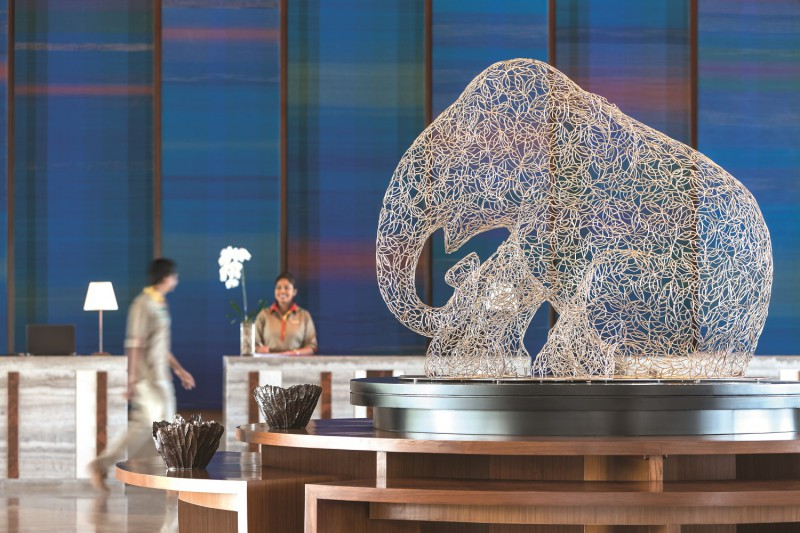 lobby reception detail with elephant artwork